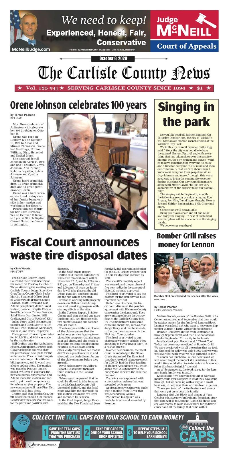 Carlisle County News  10-8-20