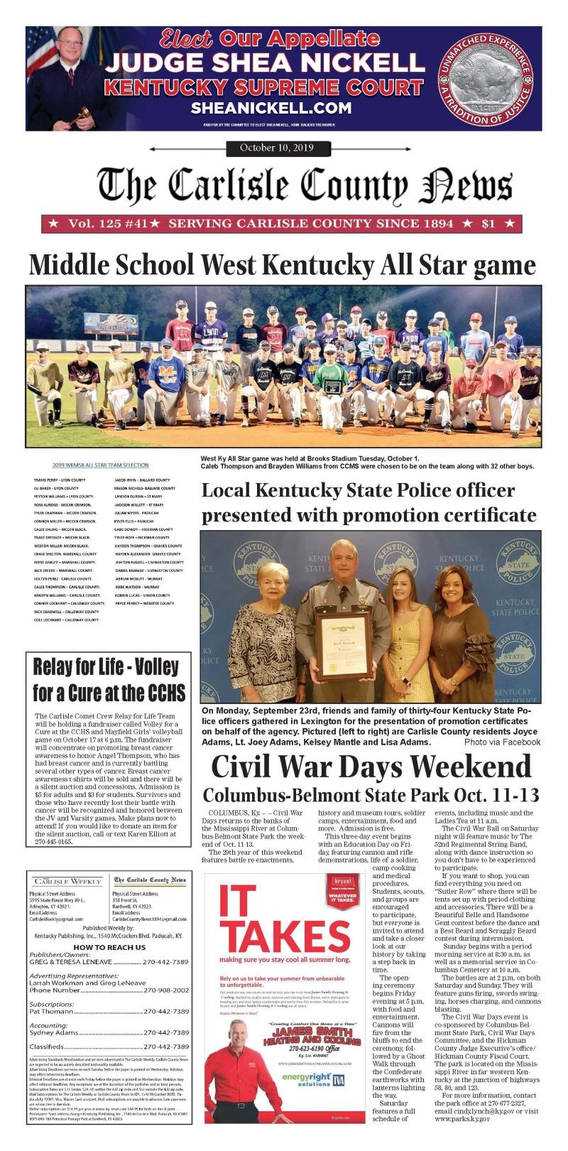 Carlisle County News  10-10-19