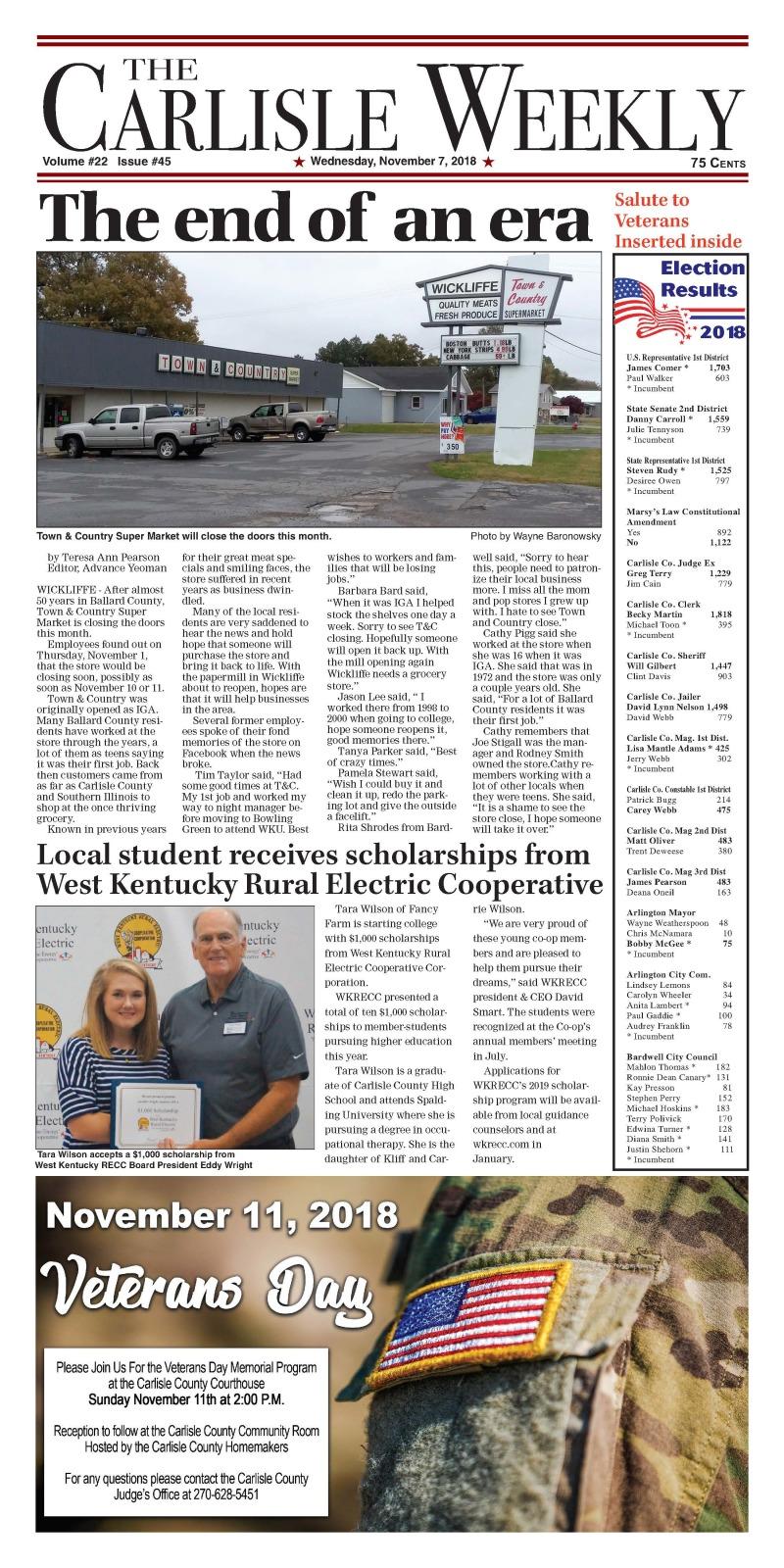 Carlisle County Weekly 11-7-18