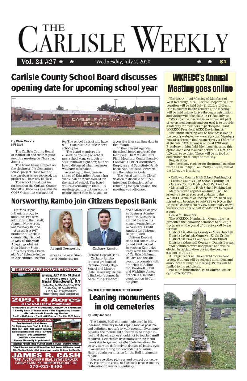 Carlisle County Weekly 7-2-20
