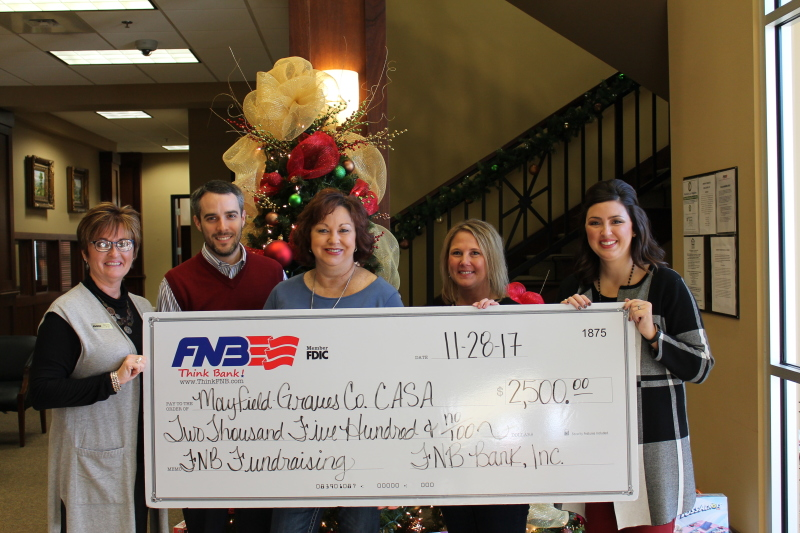FNB DONATES $5,000 TO GRAVES COUNTY CASA AND THE FEEDING AMERICA BACKPACK PROGRAM IN HONOR OF #GivingTuesday
