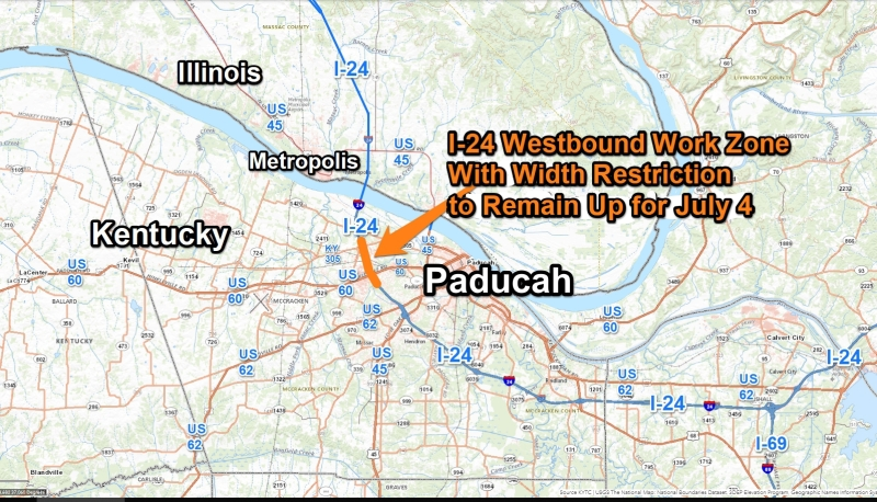 Westbound Lane and Load Width Restriction along I-24 at Paducah to Remain in Place through July 4th Holiday