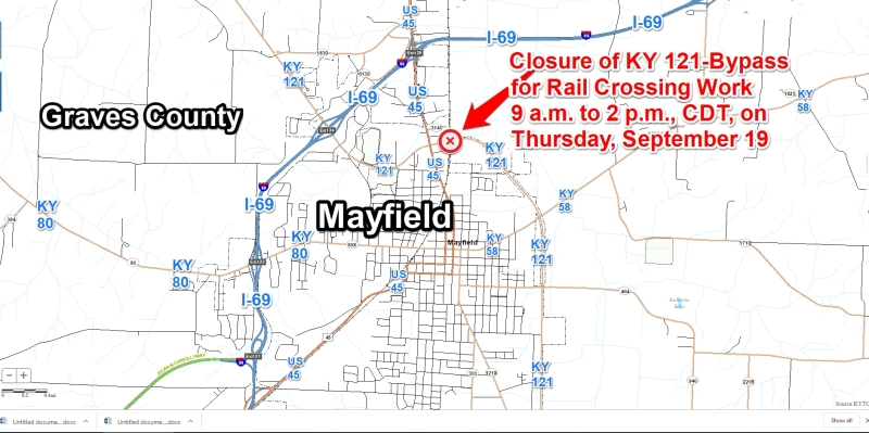 Daytime closure on KY 121-Bypass at Mayfield for rail crossing work on Thursday, Sept 19