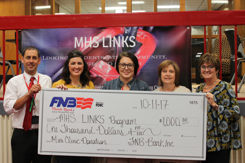 FNB BANK DONATES $1,000 TO MHS LINKS AFTER SCHOOL PROGRAM