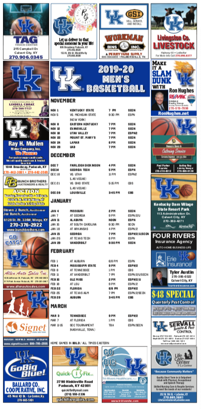 UK Basketball Calendar