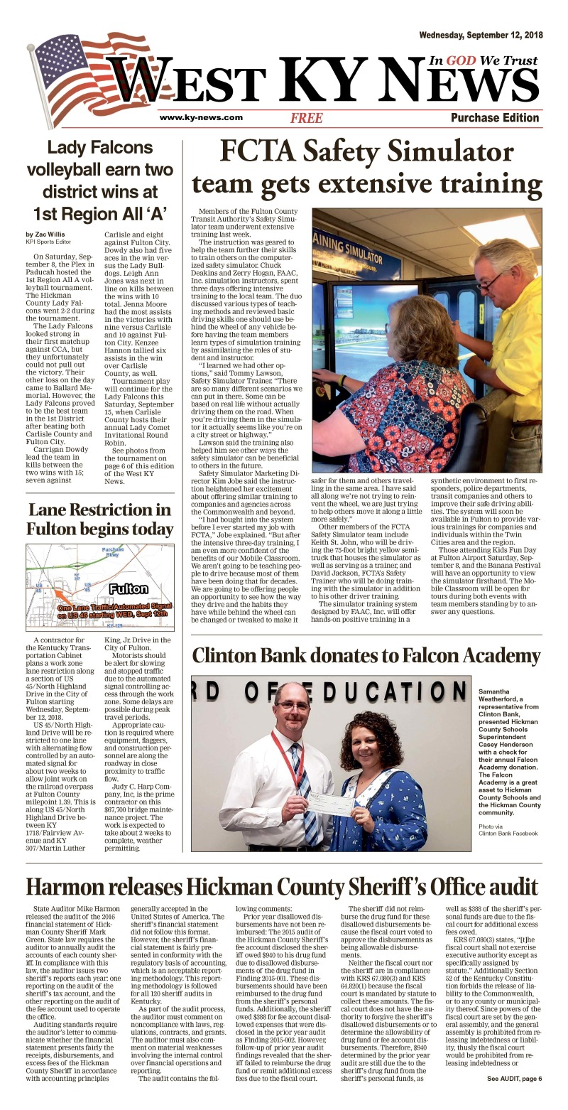 West KY News Purchase edition 9-12-18