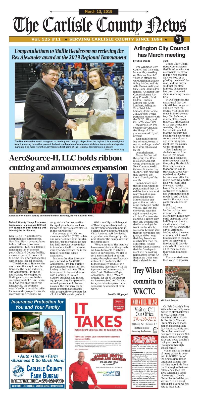 Carlisle County News  3-13-19