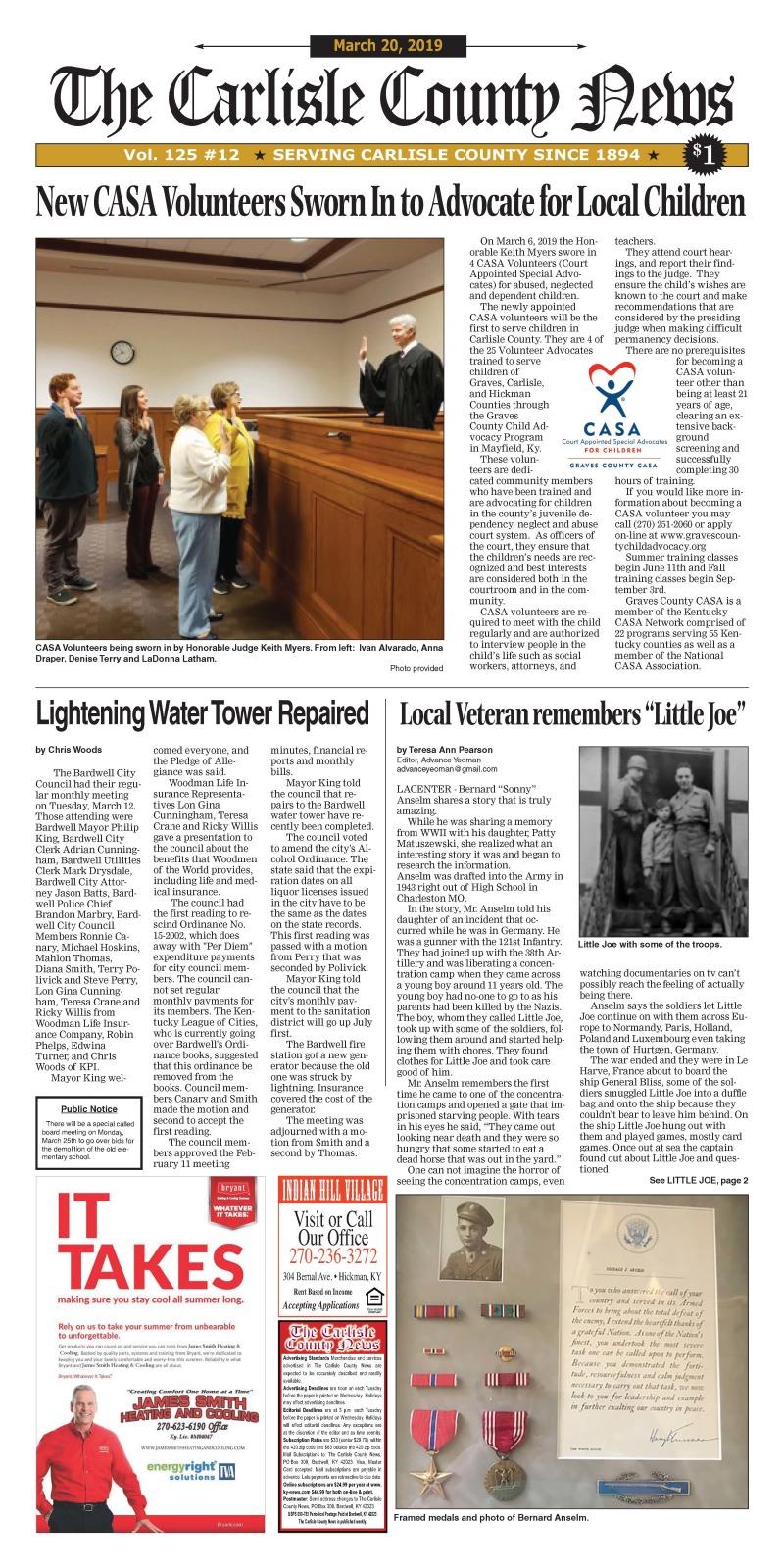 Carlisle County News  3-20-19